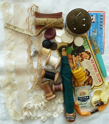 Antique Sewing Notion Lot Buttons Wood Spool Tape Measure Net Trim Needle Bobbin