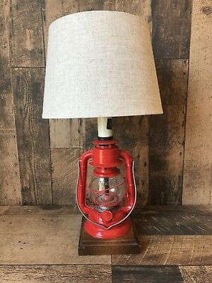 Vintage Dietz Lantern Table Lamp Red With Oak Base New Shade Rustic Unique