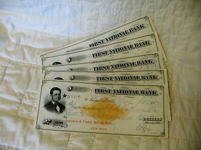 Estate Sale ~ Vintage Bank Checks - First National Bank Kendallville - 1877