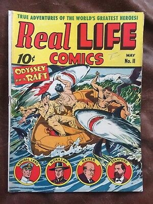 RARE 1943 GOLDEN AGE REAL LIFE COMICS #11 CLASSIC COVER COMPLETE NiCE