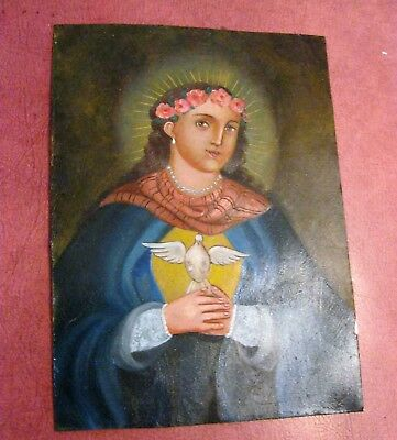 Contemporary Retablo On Tin Our Lady Of Peace Excellent Piece Of Religious Art