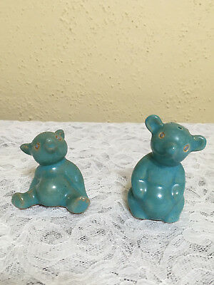 Vintage Bear Figurine Salt & Pepper Shakers Yellow Ware