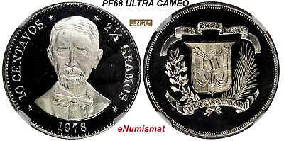 DOMINICAN REPUBLIC PROOF 1978 10 Centavos NGC PF68 ULTRA CAMEO Mintage5,000 KM50