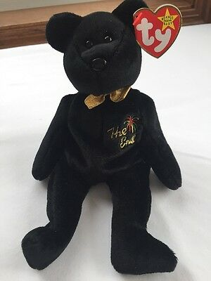 "TY Beanie Babies ""THE END"" Black Y2K Millennium Teddy Bear RETIRED! RARE TAG!"