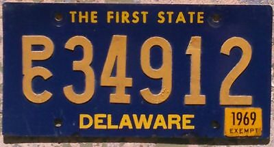 Delaware 1969 EXEMPT (including Police Cars) license plate P/C 34912