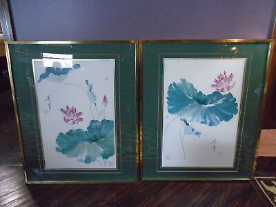 Vtg. Pair of Signed & Framed Prints Matted by Neng Yeh 1989