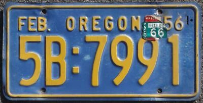 Oregon 1956 - 1966 Replacement  license plate 5B:7991