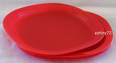 Tupperware Alfresco Large Microwave Safe Luncheon Plates (4) Holiday Red New