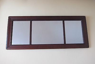 Large Antique Victorian Wall Mirror, Wooden Framed Long Triptych Hall Mirror
