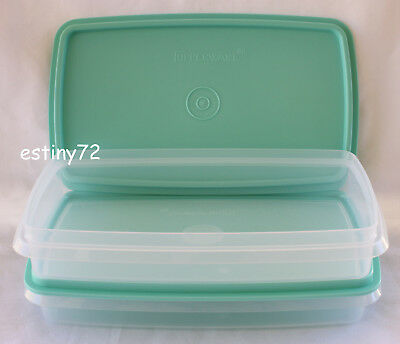 Tupperware B2B Snack Stor Slim Cold Cut Bacon Keepers (2) Mint Green New