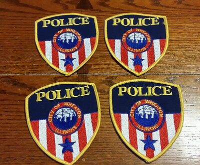City of Wheaton Illinois IL police embroidered patches lot of 4