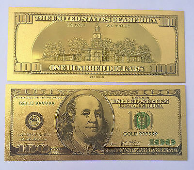Spectacular $100 USA Coloured 24K 999.0 Gold Foil Bank Note C.O.A. PACK USA