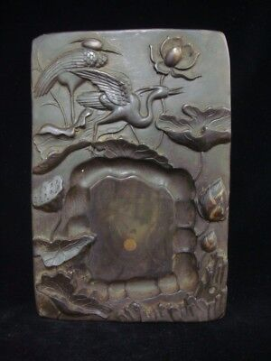 2.25kg Very Heavy Old Chinese Ink Stone Fine Carving Cranes Lotus Ink Slab Mark
