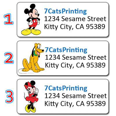 30 Personalized Return Address Labels Mickey Mouse Mini Pluto Disney