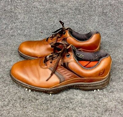FootJoy Men's Contour Series #54193 Brown Leather Golf Shoes Size 10.5 M In EUC