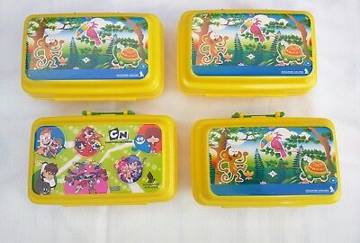 LOT of 4 Singapore Airlines Suitcase Lunch Boxes Kids Cartoon Network & animals