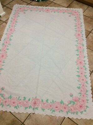 Tablecloth Pretty Floral   Pink and White