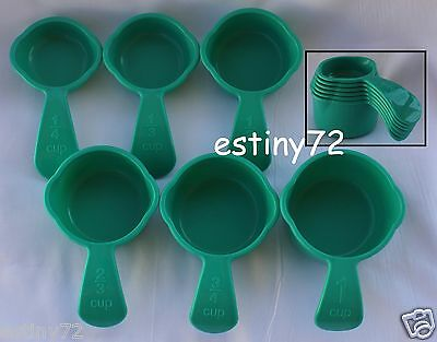 Tupperware Measuring Cups Set (6) Turkish Aqua Green New