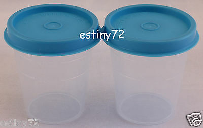 Tupperware Minis / Midgets Set (2) Clear & Azure Blue Seals New
