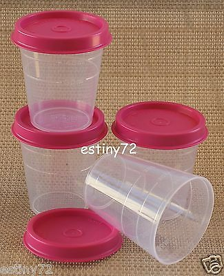 Tupperware Minis / Midgets Set (4) Clear & Fuchsia Pink Seals New