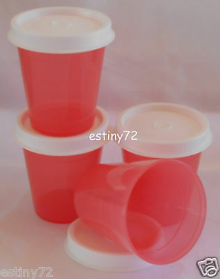 Tupperware Minis / Midgets Set (4) Guava Pink & Snow White Seals New