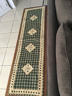 country quilted table runner green and calico checks with applique