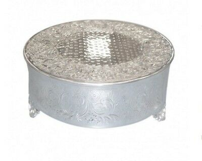 Polished Metal Silver Coloured Round Cake Stand Wedding Anniversary Birthday
