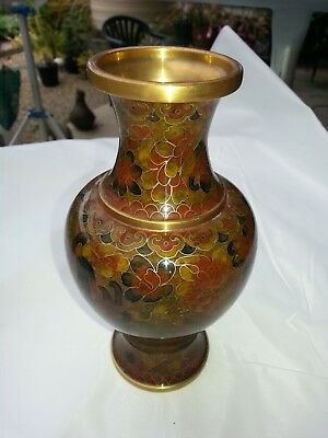 Vintage Chinese Enamel Floral Cloisonne Vase In Absolutely As New Condition