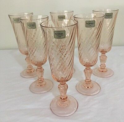 6 Gorgeous vintage french pink swirl champagne glasses by Luminarc Like New