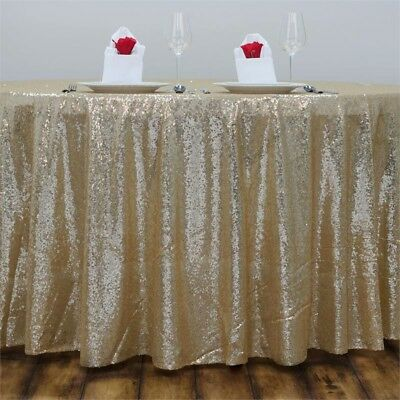 Champagne Sequin Table Cloth - Round - 120 Inch