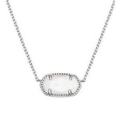 NWT Kendra Scott Elisa Short Necklace White Shell Mother of Pearl Silver Tone