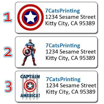 Captain America Return Address Labels Superheros Collection Personalized Prints