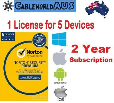 Symantec Norton Security PREMIUM 5 Devices 2 year Windows Mac Android ID KEY