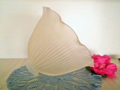 Vintage Lamp Shade Large Thick Ribbed Frosted Glass Frilled Edge Light Shade