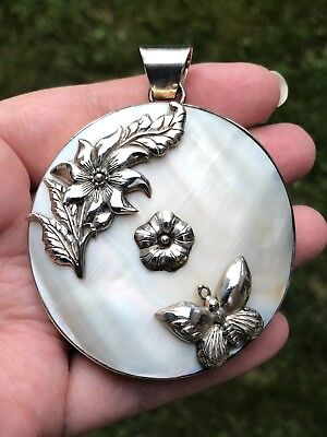 Vintage Artisan Handcrafted Sterling Silver Pendant HUGE Mother Of Pearl HEAVY