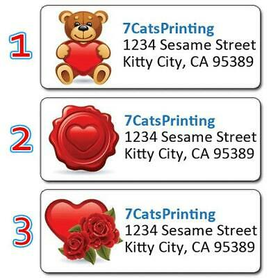 30 Red Heart Valentines Day Personalized Return Address Labels Custom Printing