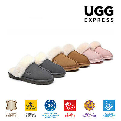 UGG Unisex Scuff Slippers Muffin, Australian Sheepskin Insole&Lining Thick Sole