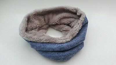 uk baby kids child winter scarf snood faux fur very warm blue