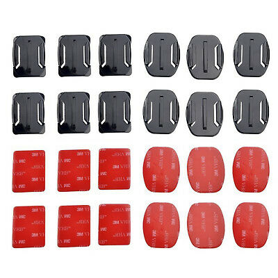 12x Flat & Curved Helmet Mounts 3M Adhesive Pad for GoPro Hero 1/2/3/3+/4 Cam US
