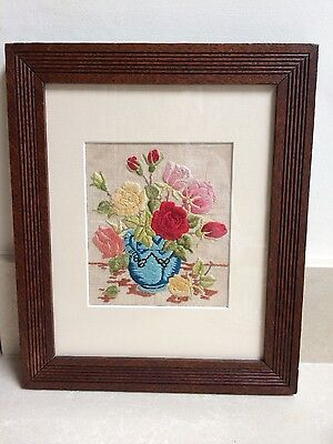 Vintage Intricate Hand Embroidered Roses In Jug Mounted In Oak Framed Picture