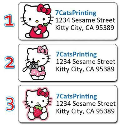 30 Personalized Hello Kitty Return Address Labels Face