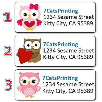 30 Personalized Return Address Labels Owls Pink Heart Bird Lovers Gift