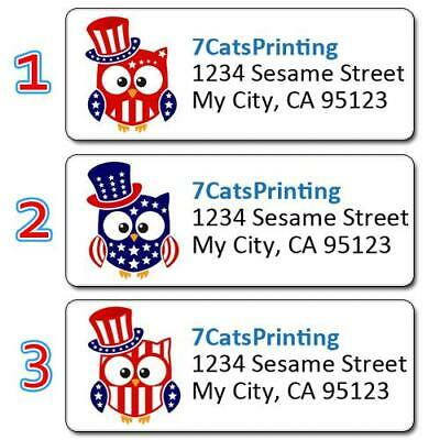 30 Patriotic Personalized Return Address Labels Red White and Blue Owls USA