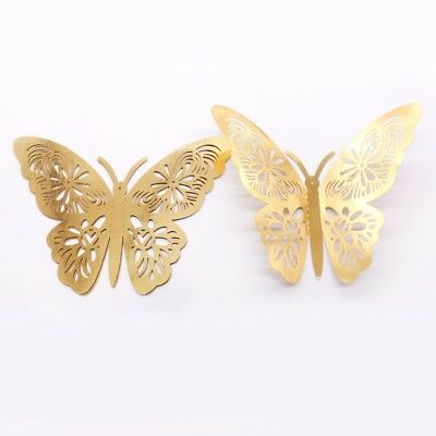 12pcs Gold Silver PVC 3D Wall Stickers Butterflies Butterflies Hollow Home Decor