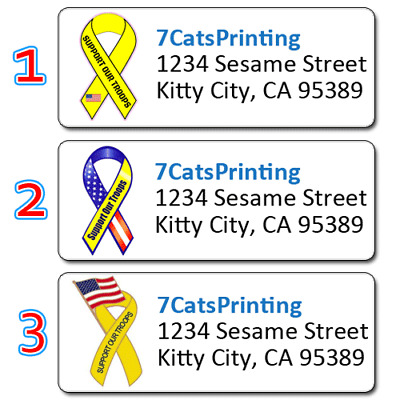 30 Support Our Tropps Yellow Ribbon Return Address Labels Personalized Printing