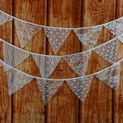 Wedding Party Decor 3.2M 12 Flags Lace Fabric Vintage Pennant Bunting Banner