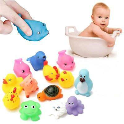 13Pcs Cute Soft Rubber Float Squeeze Sound Dabbling Toys Baby Wash Play Animals