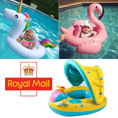 Flamingo Inflatable Baby Swim Ring Monther & Baby Donut Safety Seat Float Kids
