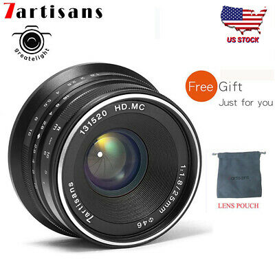 US Stock 7artisans 25mm F1.8 Manual Focus Fixed Lens for Sony E Mount Camera A7