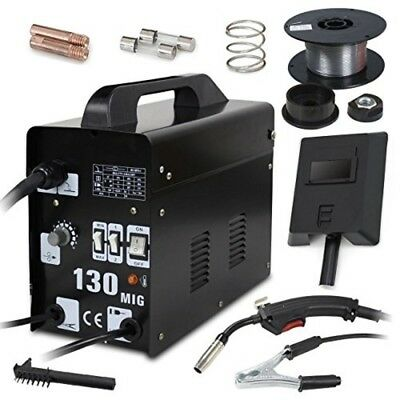 MIG 130 AC Flux Core Wire Auto-Set Welder Automatic Feed Welding Machine w/ Mask